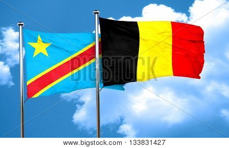Democratic republic of the congo flag with Belgium flag, 3D rend