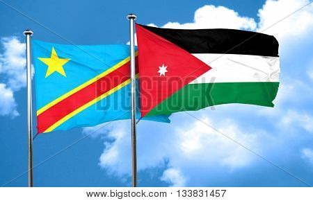 Democratic republic of the congo flag with Jordan flag, 3D rende