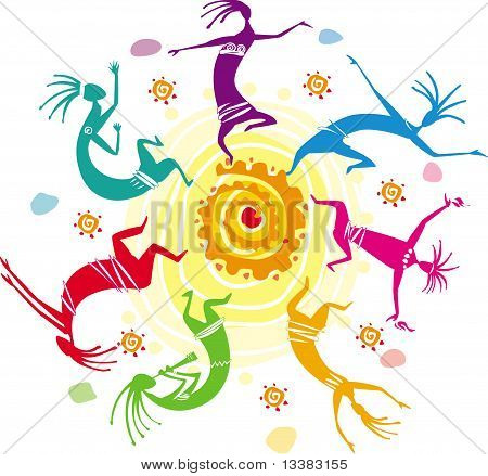 Color figures dancing in a circle
