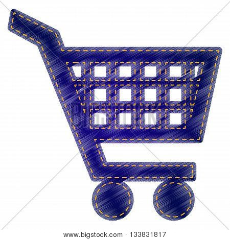 Shopping cart sign. Jeans style icon on white background.