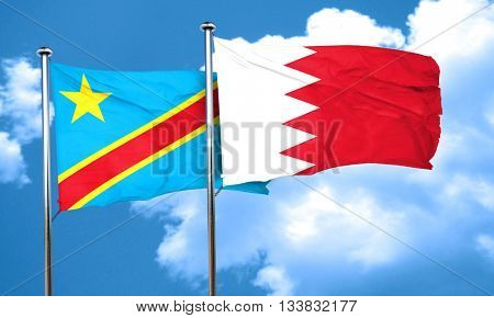 Democratic republic of the congo flag with Bahrain flag, 3D rend