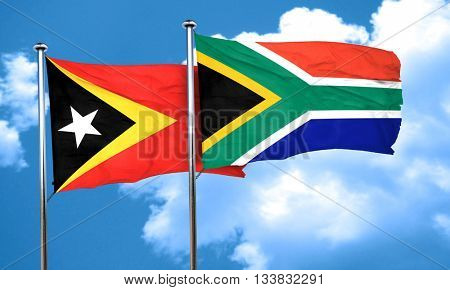 east timor flag with South Africa flag, 3D rendering