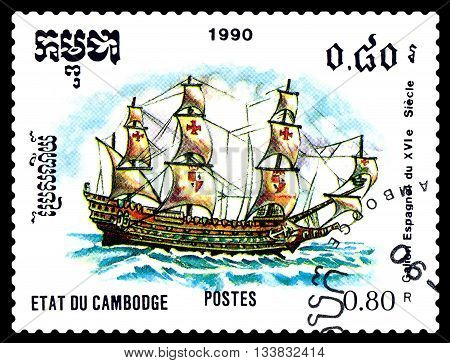 STAVROPOL RUSSIA - MAY 29 2016: a stamp printed by Cambodia shows old Spanish Galleon 16th cent. circa 1990 .