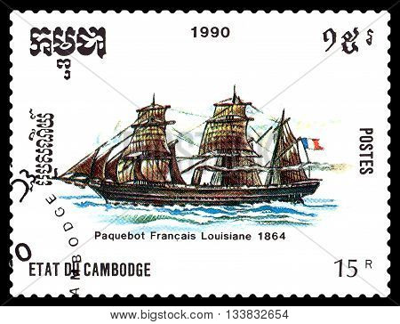 STAVROPOL RUSSIA - MAY 29 2016: a stamp printed by Cambodia shows old French packet Luisiana circa 1990 .