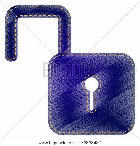 Unlock sign illustration. Jeans style icon on white background.