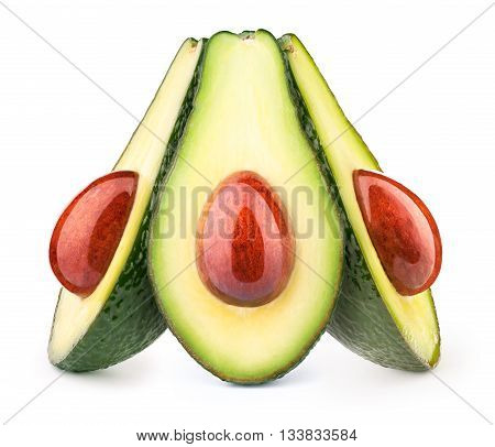 Group of three avocados with oily stones isolated on white, with clipping path