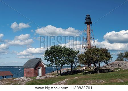 Marblehead Lighthouse is located in Chandler Hovery Park in Massachusetts.