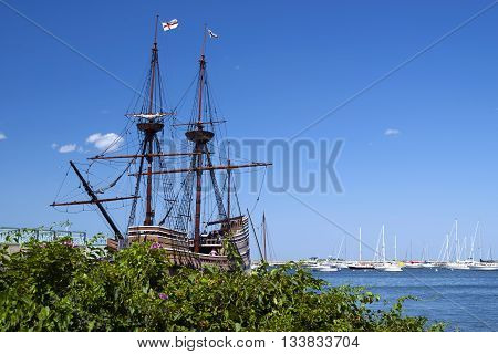 Mayflower II is a popular attraction in Plymouth Massachusetts. It is an exact replica of the original Mayflower that brought the Pilgrims to America.