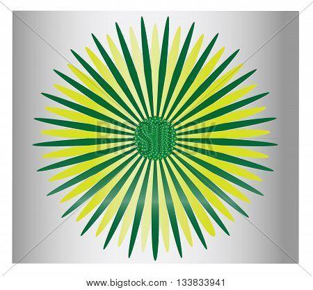 Greenl flower over gray gradient background - Vector