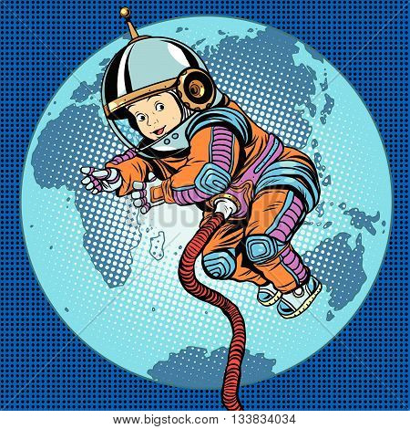 Astronaut baby Earth space. Earth day, ecology and life on the planet pop art retro vector