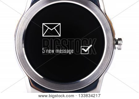 smartwatch with 5 new message notification isolated on white background