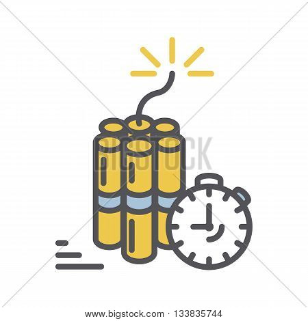Dynamite icon.Vector thin line Bomb with clock timer icon isolated on a white background
