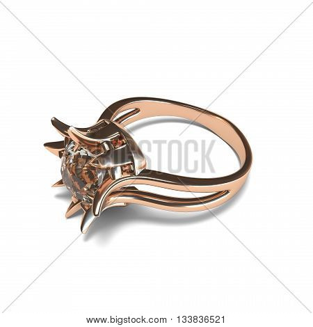 Rose gold ring on white background 3d rendering