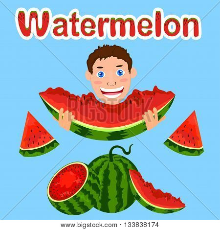 Watermelon set in different variations, child eating watermelon