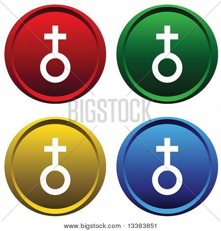 Plastic buttons with the symbol of Venus