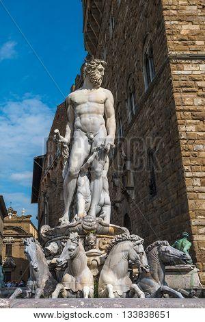 Fountain Of Neptune On Piazza Della Signoria In Florence.