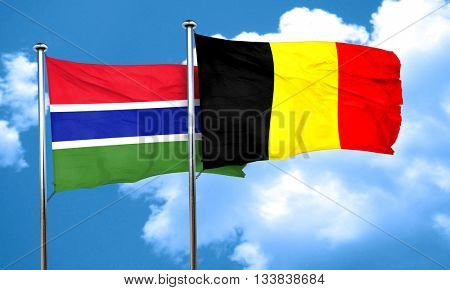 Gambia flag with Belgium flag, 3D rendering