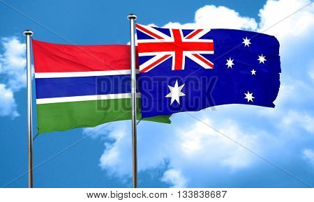 Gambia flag with Australia flag, 3D rendering