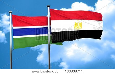 Gambia flag with egypt flag, 3D rendering