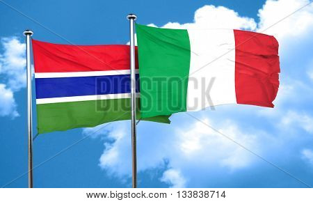 Gambia flag with Italy flag, 3D rendering
