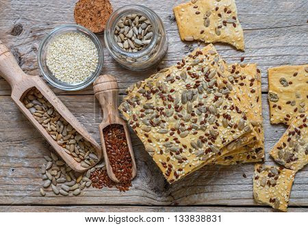 Crispy cookies made from whole wheat flour with flax seed sunflower seeds and sesame seeds