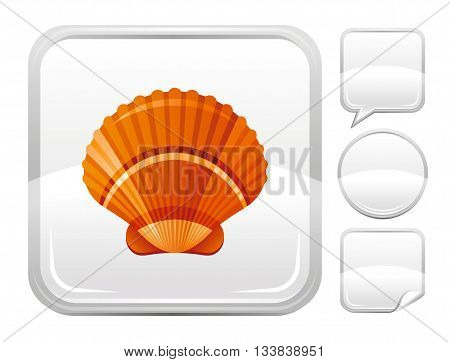 Sea beach and travel icon with scallop shell on square background and other blank button forms