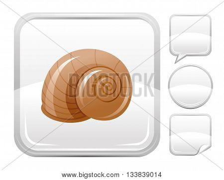 Sea beach and travel icon with snail on square background and other blank button forms - speaking bubble, circle, sticker