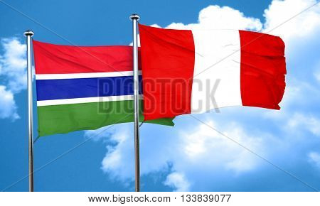 Gambia flag with Peru flag, 3D rendering