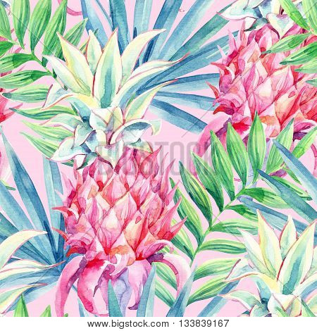 Watercolor pink pineapple fruit seamless pattern. Decorative pineapple with palm leaves on white background. Ornamental garden plant. Exotic plant background. Hand painted illustration in pastel color