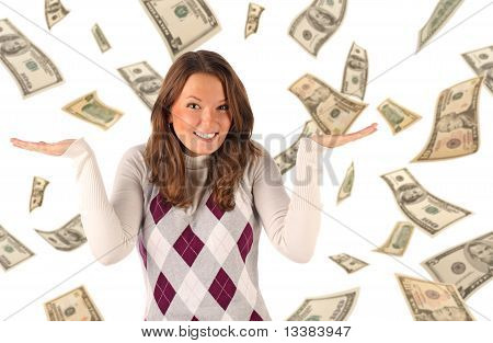 Confused girl on dollars background