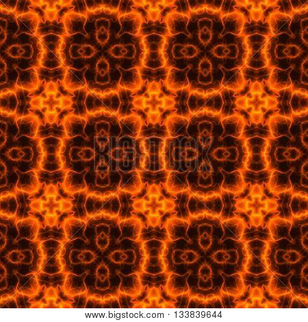 Kaleidoscopic abstract fiery pattern made seamless in checkered pattern