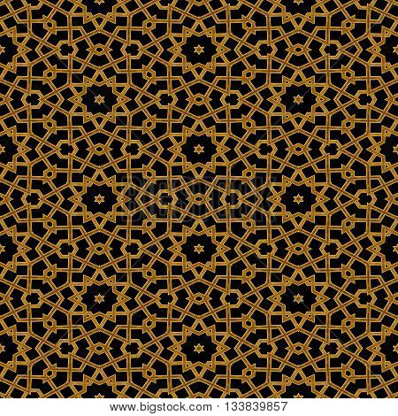 Seamless golden arabic railing pattern in mosque