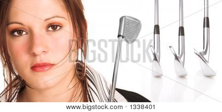 Businesswoman With Brown Hair And Golf Equipment