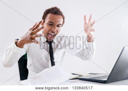 Black Businessman Tired Of Paperwork