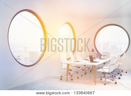 Conference Room With Circular Windows