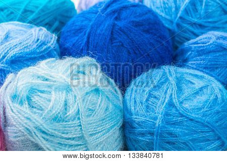 Blue And Turquoise Wool Skeins Of Thread Closeup