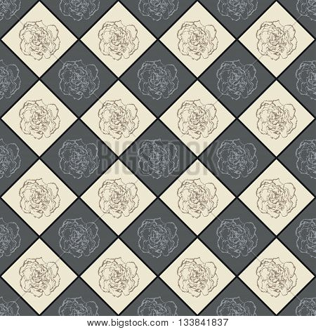 Grey And Beige Seamless Chess Styled Vintage Texture With Clove Flower