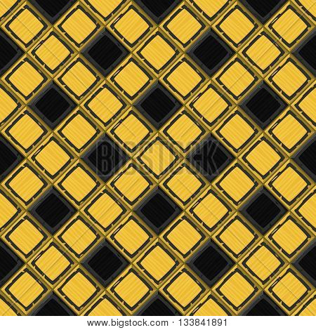 Cartoon Hand Drown Golden And Black Old Diagonal Seamless Tiles Texture
