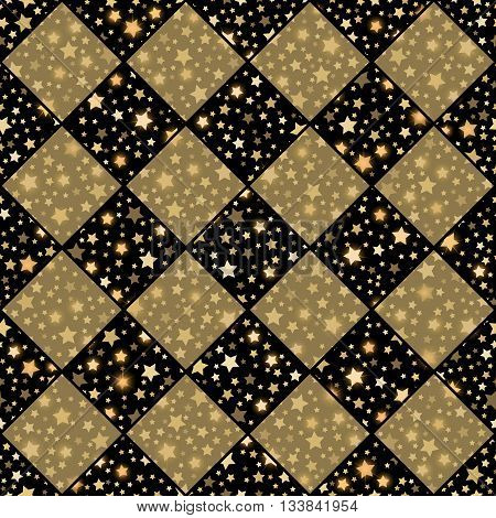 Gold And Black Seamless Chess Styled Vintage Texture With Clove Flowers And Shining Rounds