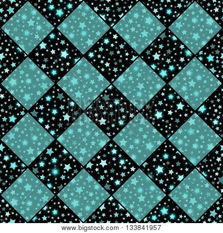 Turquoise And Black Seamless Chess Styled Vintage Texture With Clove Flowers And Shining Rounds