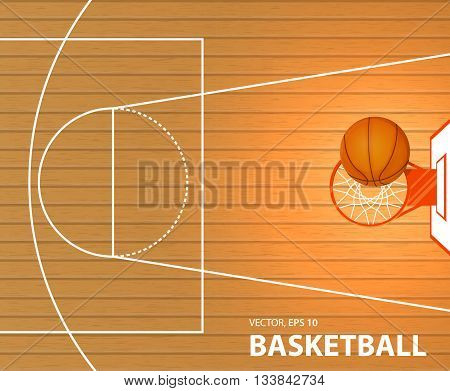 Vector illustration banner a basketball court a ball in a basket space for text lorem ipsum