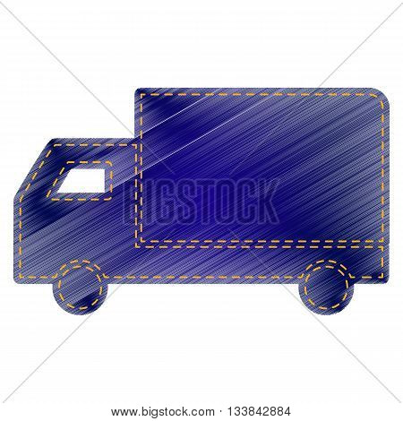 Delivery sign illustration. Jeans style icon on white background.