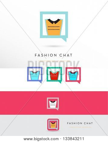 BEAUTIFUL MODERN WOMAN'S T SHIRT DESIGN INCORPORATED IN A CHAT WINDOW ICON , VECTOR LOGO / ICON IN VARIOUS COLORS