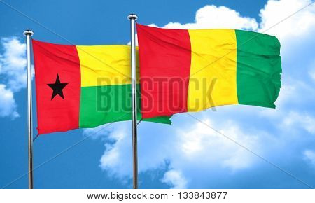 Guinea bissau flag with Guinea flag, 3D rendering