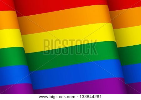 Wind-shaken rainbow flag. Symbol of LGBT community