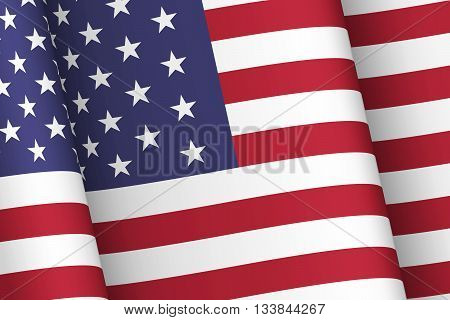 Wind-shaken USA flag. National symbols of the United States of America