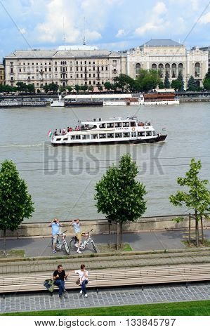 Budapest Hungary - June 04 2016: Budapest and Danube landscape with tourists