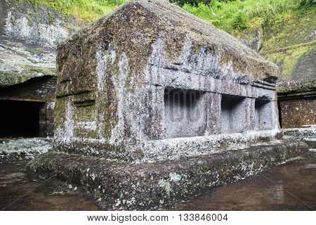 Old casket stone at Kunung Kawi at Bali Indonesia