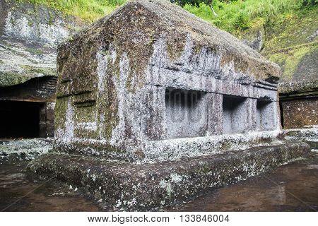Old casket stone at Kunung Kawi at Bali Indonesia