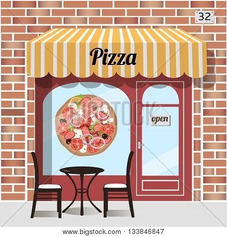Cafe pizza. Fast food. Table and chairs at the fore pizza sticker on window. Red brick facade. Vector illustration.